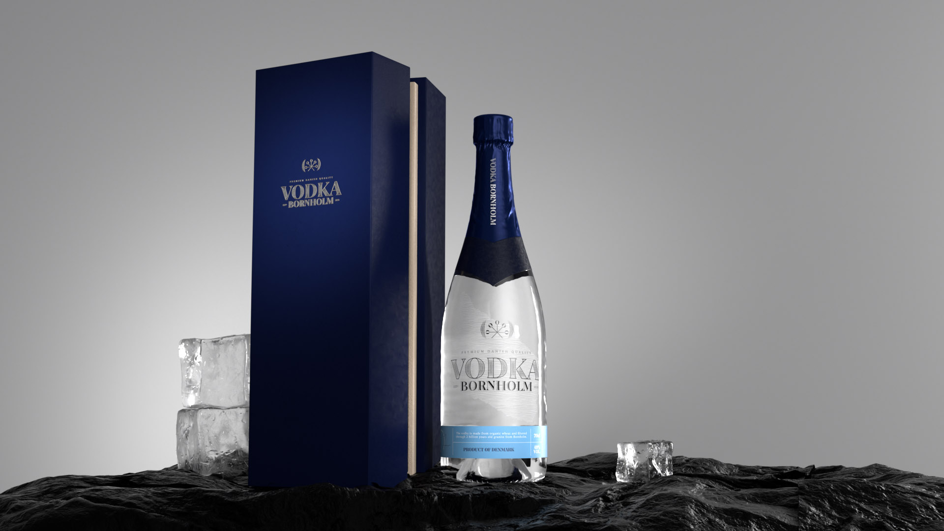 09 Vodka Bornholm Video Commercial 3D Product Hero shot